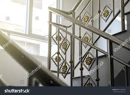 Stainless Steel Banister Rail Stainless Steel Railing Inside Building Stock Photo 573506995