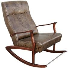 Indoor Rocking Chairs For Sale 1960s Brazilian Rocking Chair In Crocodile Embossed Leather For