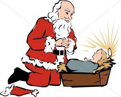 santa and baby jesus santa kneeling beside baby jesus baby jesus clipart
