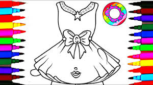 coloring pages pretty dress for girls coloring drawing pages