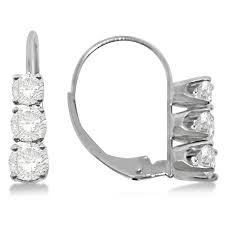 leverback diamond earrings three leverback diamond earrings 14k white gold 1 00ct allurez
