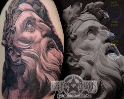 finished up this hades greek god statue tattoo by drew harris