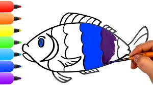fish coloring pages how to draw a rainbow fish learn colors