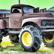 grave digger monster truck poster monster truck grave digger 3 painting by jeelan clark