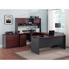 Office Executive Desk Furniture by Ameriwood Home Pursuit Executive Desk Cherry Gray Walmart Com