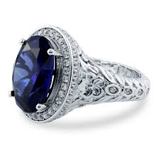 sterling silver oval simulated blue sapphire cz halo art deco ring