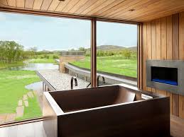 Garage Bathroom bathroom floor to ceiling windows grass lawn oversized windows