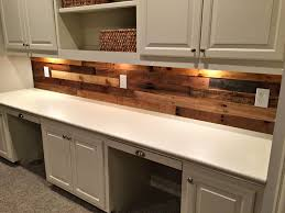 pallet wood wall with built in desk revival woodworks