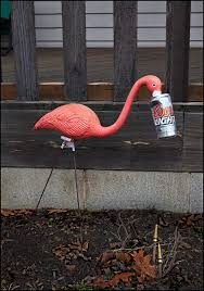 plastic pink flamingo in the yard a photograph by