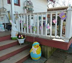 shabby chic oak dining table living room ideas the tuscan home easter mantle tree and decor so this is our family old glory cottage easter decorations the back porch with a few of our blow molds