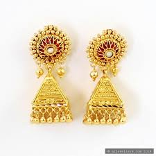 gold ear studs 22ct indian gold stud earrings jhumkay 75148 ear studs indian gold