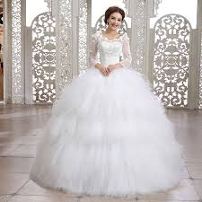 wedding dresses fluffy custom made wedding dress 2015 sleeve slit neckline