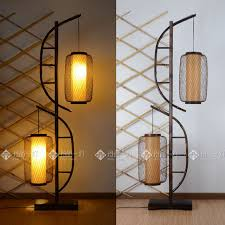floor lamp double bow double lantern japanese bamboo floor lamp