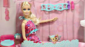 barbie glam bathroom furniture and doll set y2856 md toys