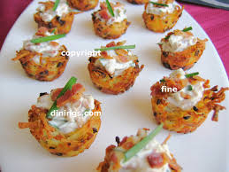 dining canapes recipes potato nest appetizer dining recipe potato and bacon basket