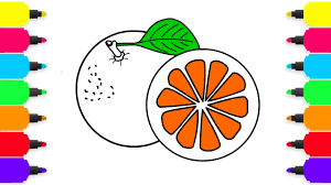 fruits coloring pages coloring orange for kids how to color for