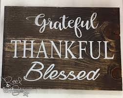 grateful thankful blessed wood sign rustic home decor