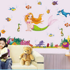 compare prices on mermaid nursery decor online shopping buy low new new cartoon mermaid fish wall stickers home decor bathroom diy poster animal wallpaper removable sticker
