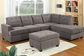 livingroom sectional 3pc modern reversible grey charcoal sectional sofa