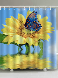 2018 sunflower butterfly shower curtain yellow w inch l