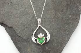 rose zircon necklace images Sterling silver and irish rose gold claddagh pendant jpg