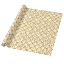 gold gift wrap gold yellow and white deco pattern gift wrap zazzle