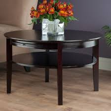 amelia round coffee table w pull out tray winsome wood 92232