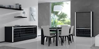 Covered Dining Room Chairs by Stainless Steel Chandelier Black Varnished Pine Wood Dining Table