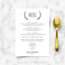 menu template wedding laurel wreath wedding brunch menu template wedding menu cards