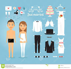 wedding stuff just married paper dolls with set of wedding stuff stock vector