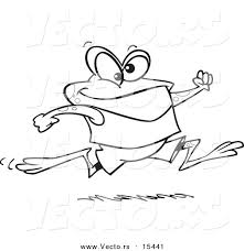 vector of a cartoon jogging frog coloring page outline by