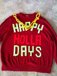 happy holla days sweater by naughtysweetsweaters on