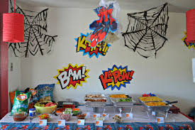How To Decorate Birthday Party At Home by A Spidery Spider Man Birthday Party Building Our Story