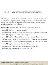 Resume Senior Sales Executive Top8seniorsalesengineerresumesamples 150512072644 Lva1 App6892 Thumbnail 4 Jpg Cb U003d1431415657
