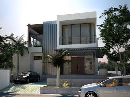 modern exterior house color combinations with small garden and