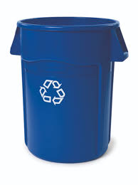 Tall Trash Can by Rubbermaid 44 Gallon Brute Blue Utility Recycling Container 2643