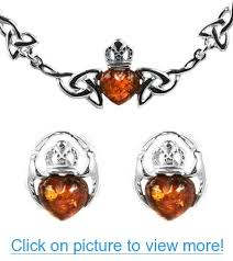 claddagh set baltic honey sterling silver claddagh set stud earrings