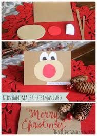 simple kid handmade christmas card rudolph the reindeer