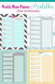 printable menu planner pages free weekly menu planner printable 4 colors cupcake diaries