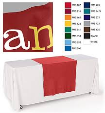 black display table cloth 30x80 custom display table runners 3 color vinyl front imprint