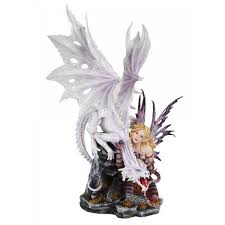 Wiccan Home Decor White Dragon And Fairy Statue With Fine Detail 23 1 4 Inches High