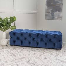 costa fully tufted bench navy blue
