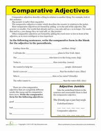 comparative adjectives worksheets second grade and grammar