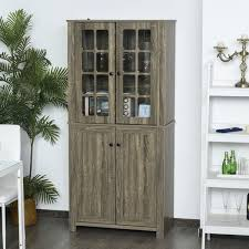 kitchen storage cabinets with doors and shelves homcom free standing kitchen pantry contemporary kitchen