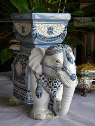 ceramics home decoratives lucky elephant in blue and white a very decorative piece for