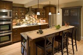 kitchen island with built in dining table cherry wood room with