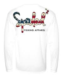White American Flag Performance Long Sleeve White With Spooled American Flag Logo Spf