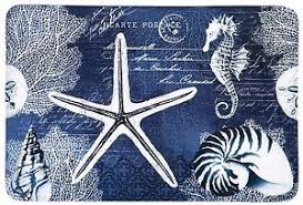 Navy Bath Mat Memory Foam Starfish Seahorse Bath Mat Sea Bathroom Decor