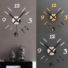 home decor clocks wholesale diy wall clock 3d mirror surface sticker home office