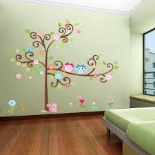 Kids Room Wall Decor Stickers by 1 X Colorful Flower And Owls On The Tree Cartoon Wall Decor